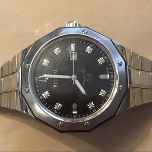 Bulova men's silver diamond dial watch